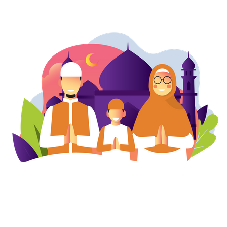 Prayer In Mosque Illustration