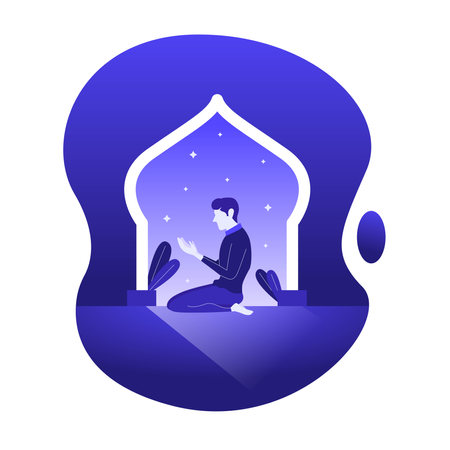 Praying Muslim Islam Praying illustration flat design Illustration