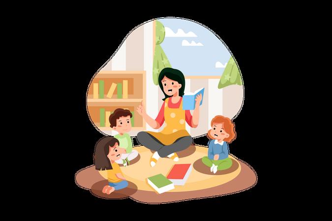Pre school teacher reading book for kids Illustration