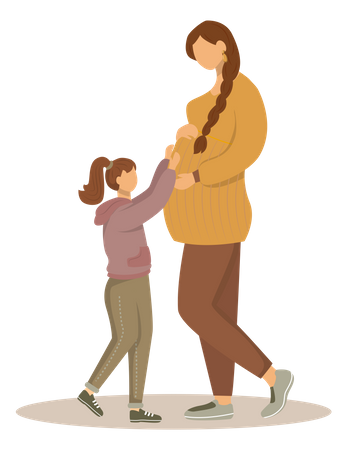 Pregnant woman and little girl Illustration