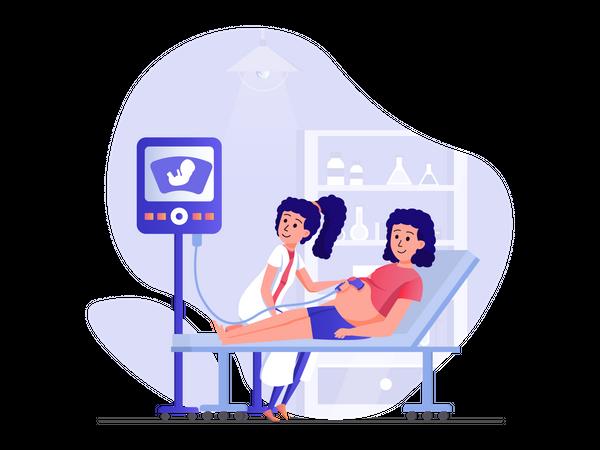 Pregnant woman at hospital Illustration