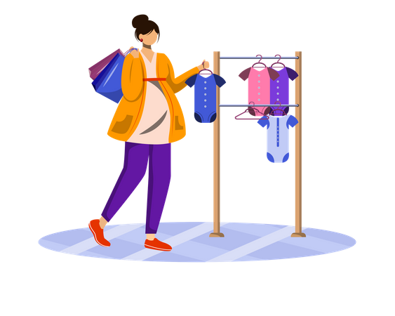 Pregnant woman choosing baby clothes Illustration