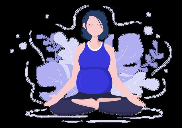 Pregnant Woman Doing meditation Illustration