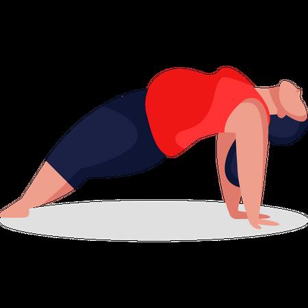 Pregnant woman doing yoga Illustration