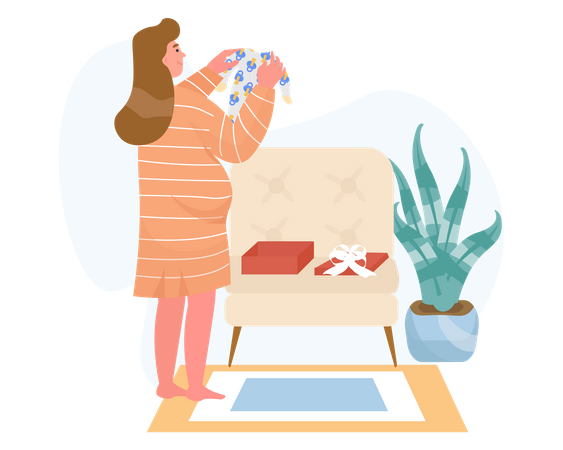 Pregnant woman Holding newborn baby clothes Illustration