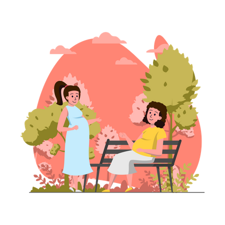Pregnant woman in park Illustration