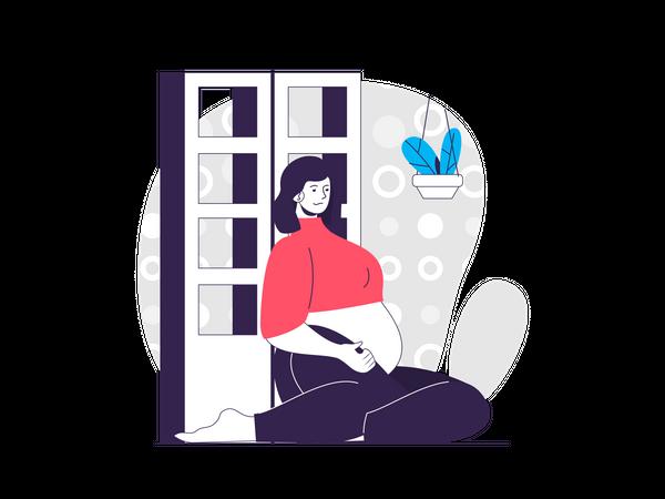Pregnant woman sitting on floor in room Illustration