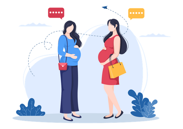 Pregnant women meeting each other Illustration