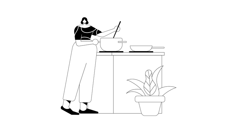 Preparing food Illustration