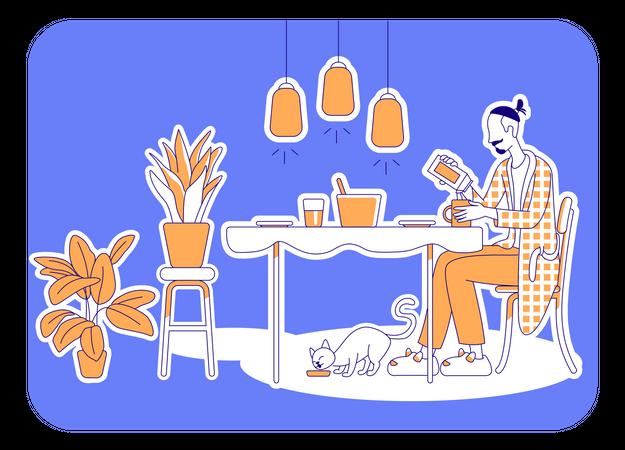 Preparing meal Illustration