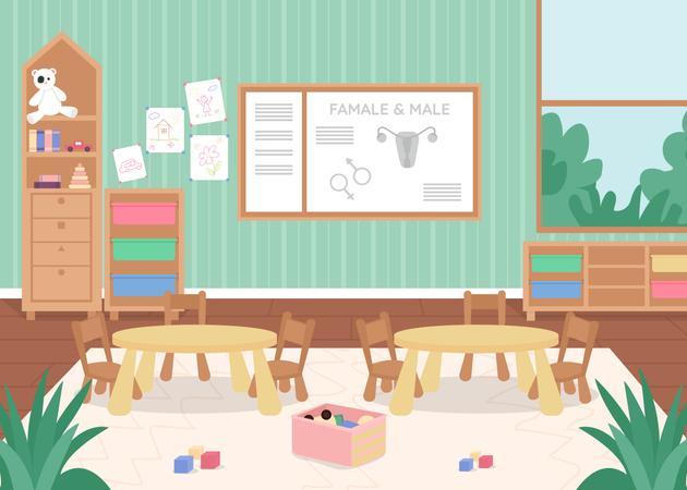 Preschool biology class Illustration