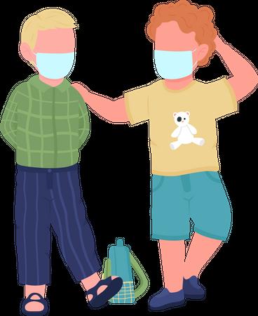 Preschool kids in face masks Illustration