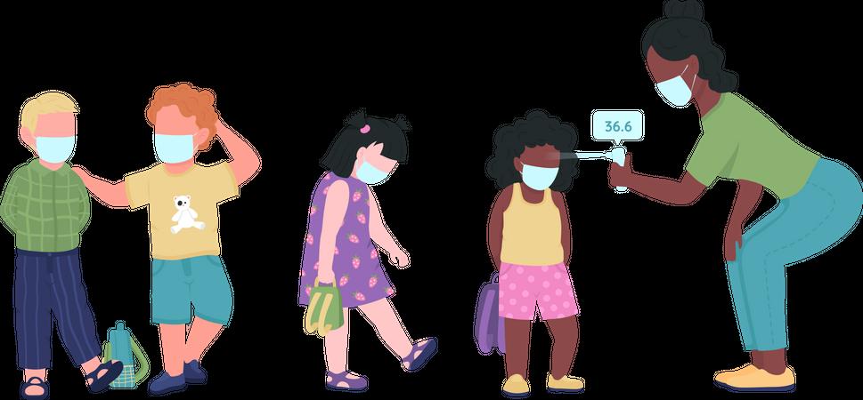 Preschool teacher check kids temperature during covid-19 Illustration
