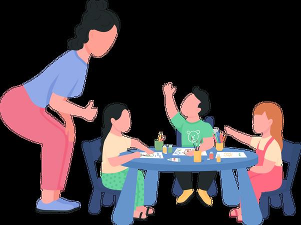 Preschool teacher with children during art class Illustration