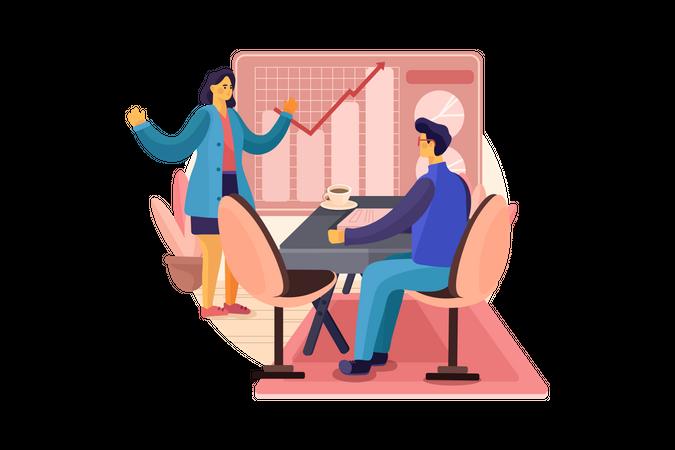 Presentation about business strategy Illustration