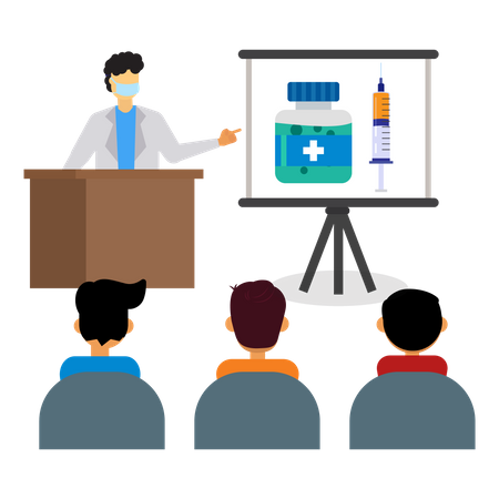 Presentation about the corona vaccine Illustration