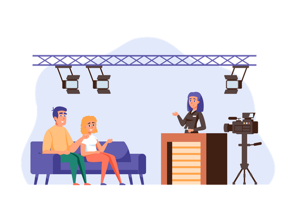 Presenter interviewing guests at studio Illustration