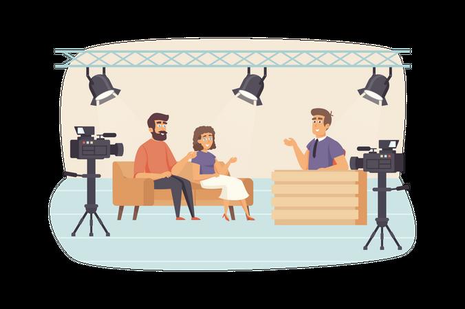 Presenter interviewing guests at studio, cameras recording video Illustration