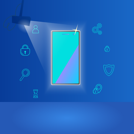 Presenting New Phone with lightning and Phone Features Illustration