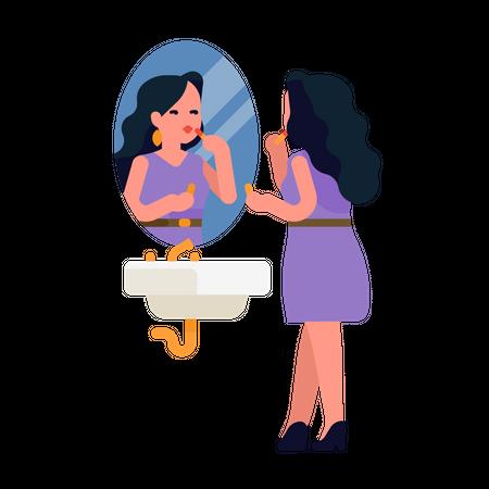 Pretty woman applying lipstick in front of a bathroom mirror Illustration