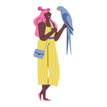 Pretty young woman in doodle style holding big parrot Illustration