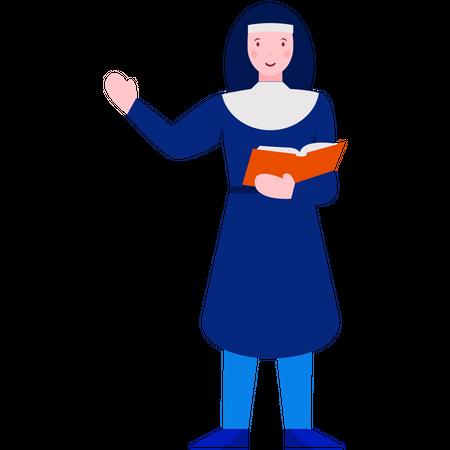 Priest reading Bible Illustration