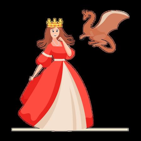 Princess with Dragon Illustration