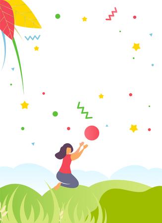 Print Flyer, Media Cards, Social Stories and Advertising Kids Camp Illustration