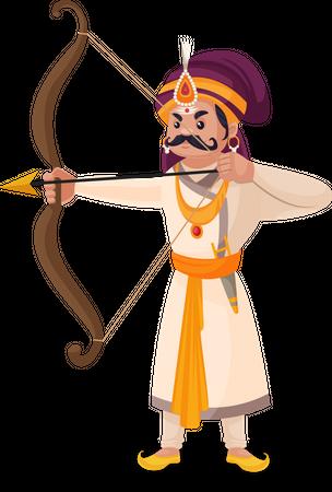 Prithviraj Chauhan aiming arrow Illustration