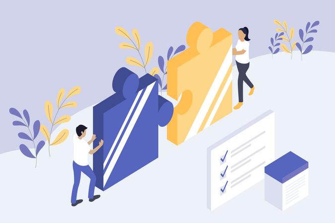 Problem solving concept in business startup Illustration