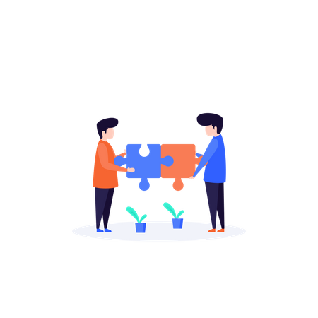 Problem Solving concept with puzzle Illustration