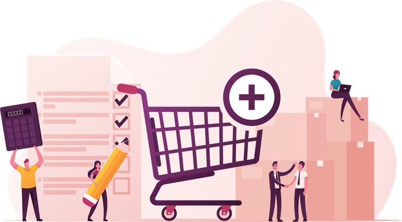 Procurement Process of Purchasing Goods or Services Illustration