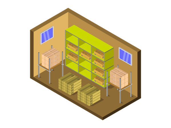 Product stored in warehouse Illustration