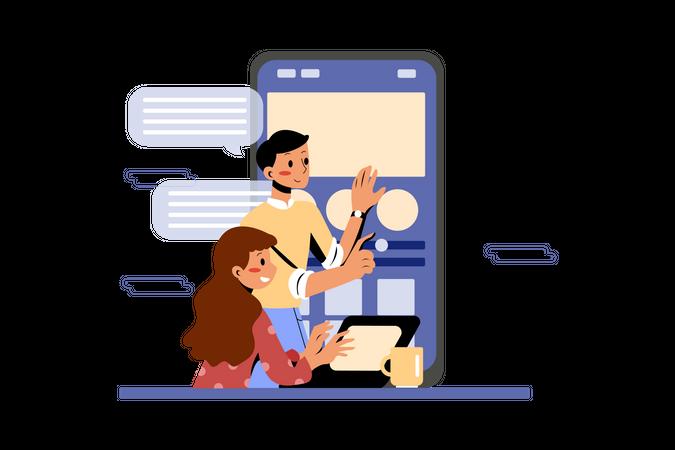 Product team working together on mobile application development Illustration