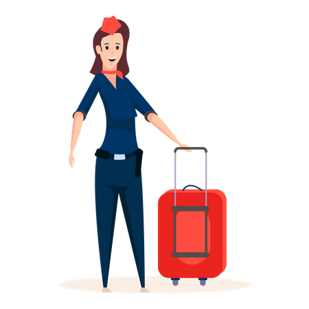 Professional air hostess standing with luggage bag Illustration
