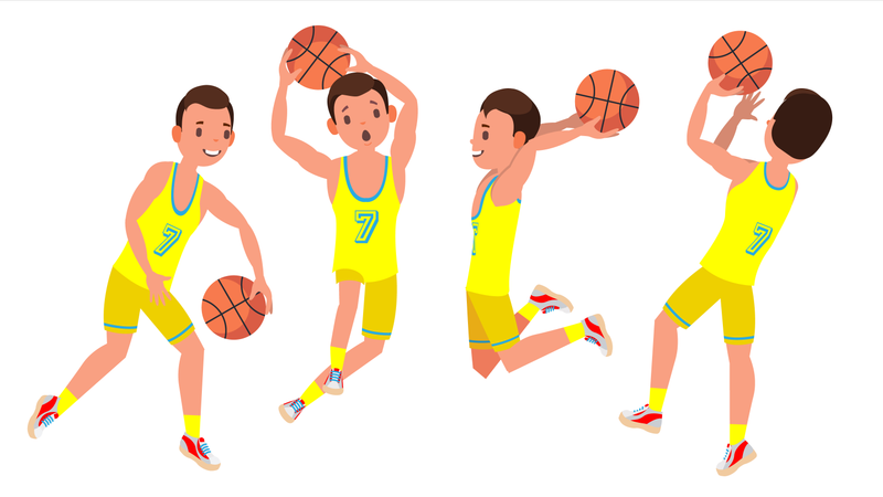 Professional Basketball Player Vector. Yellow Uniform. Playing With A Ball. Healthy Lifestyle. Team Action Stickers.Isolated On White Cartoon Character Illustration Illustration