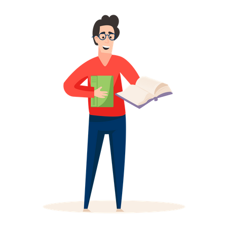 Professional book writer holding book in his hand Illustration