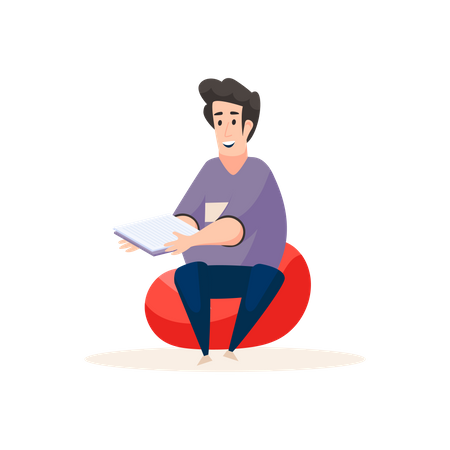 Professional content writer sitting in bean bag and holding papers Illustration