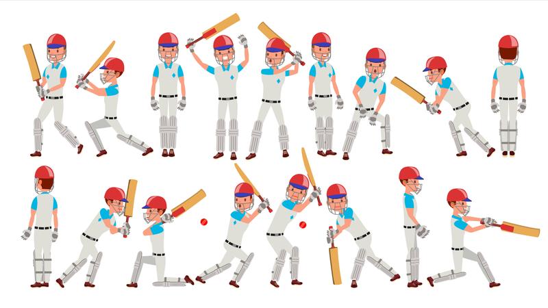 Professional Cricket Player Illustration