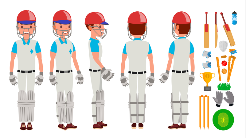 Professional Cricket Player Vector. Equipped Players. Pads, Bats, Helmet. Isolated On White Cartoon Character Illustration Illustration