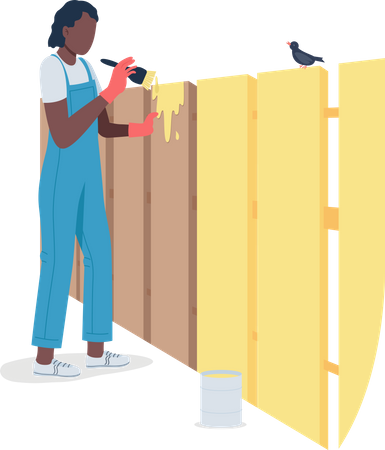 Professional female worker painting fence Illustration
