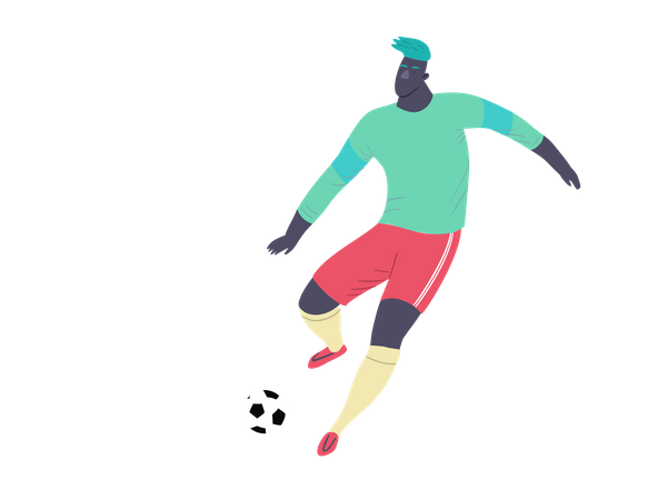 Professional Footballer playing in match Illustration