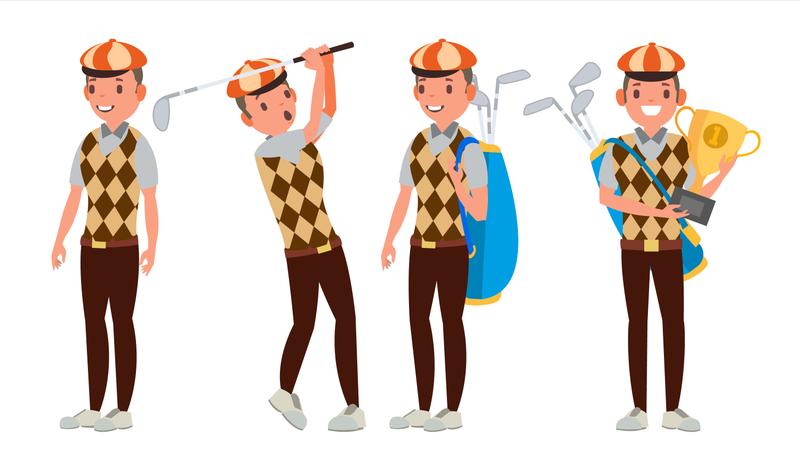 Professional Golf Player Vector Illustration