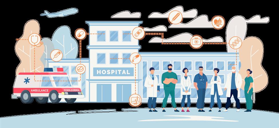 Professional Hospital Medical Staff Presentation Landing Page Illustration