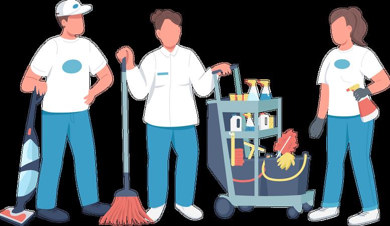 Professional housekeeping staff Illustration
