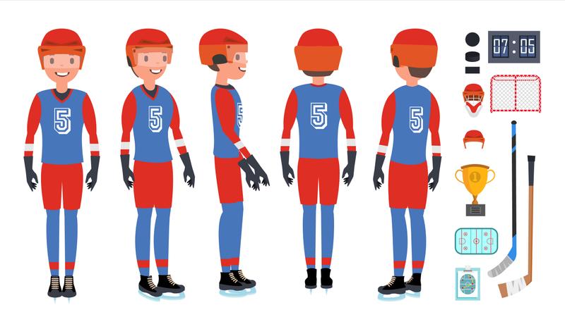 Professional Ice Hockey Player Illustration