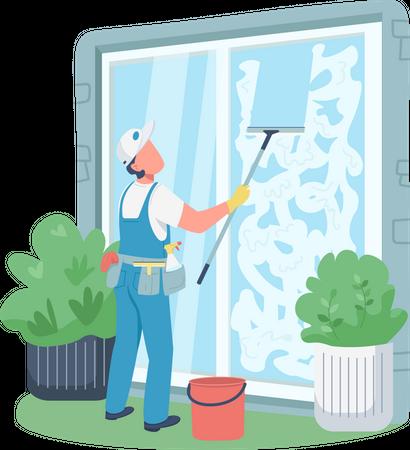 Professional janitor Illustration