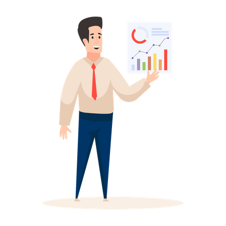 Market analyzer presenting analysis Illustration