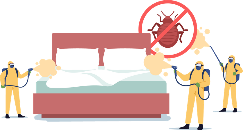 Professional Pest Control Service Doing Room Disinfection against Bed Bugs Illustration