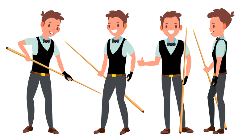 Professional Snooker Player With Different Pose Illustration